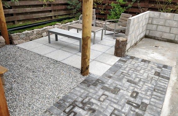 completed patio with path