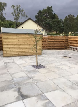 paving with shed