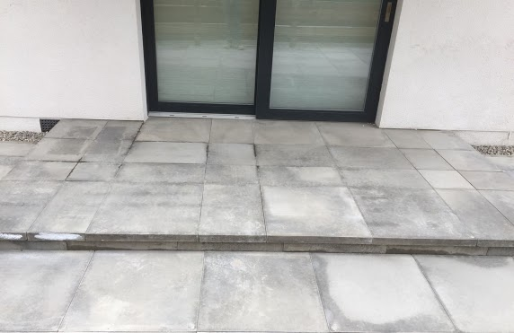 patio slabs with step