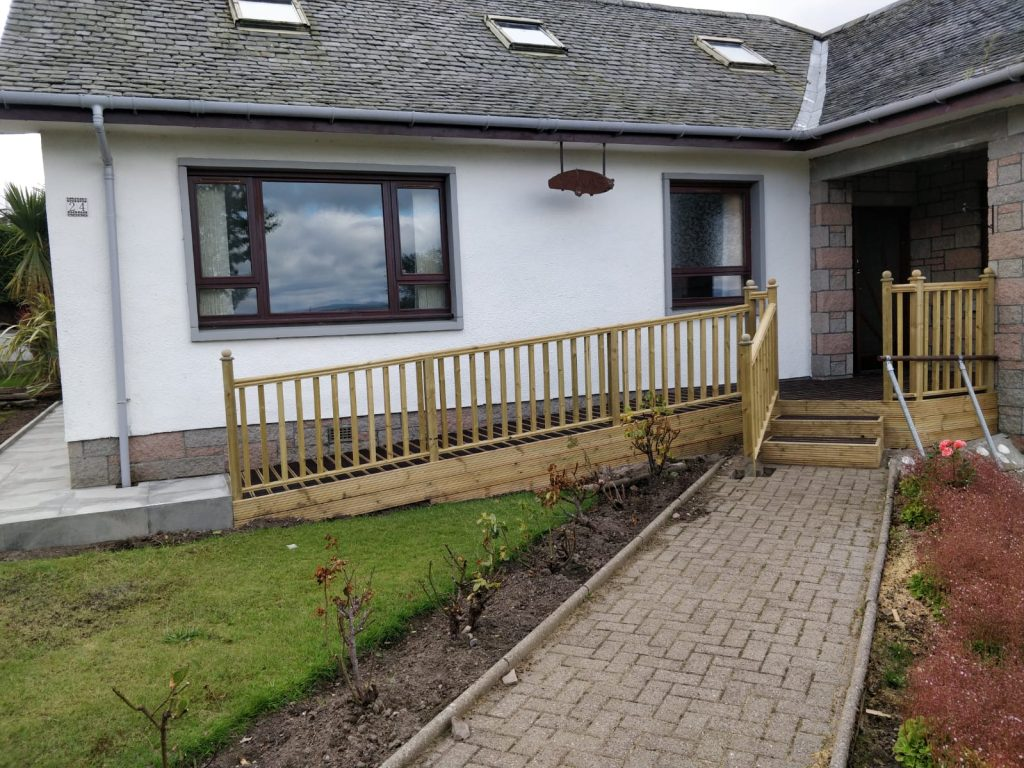 Ramp with fencing rail and steps inverness
