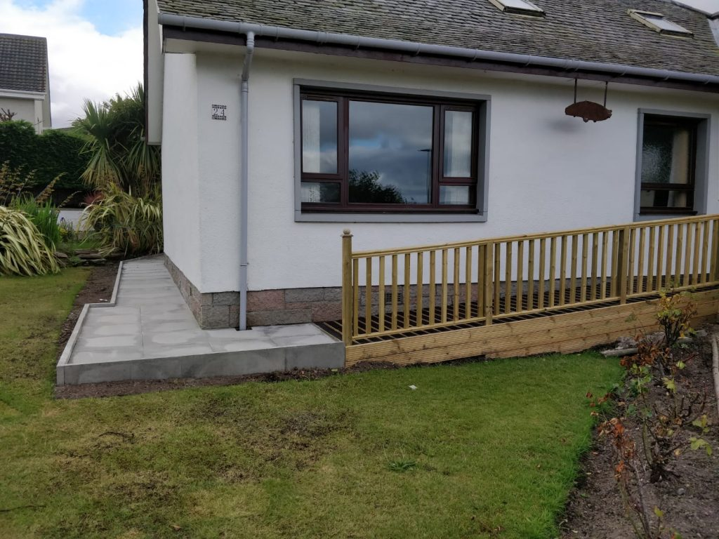 perimeter pathway paving with fencing rail inverness